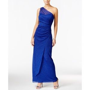 Onyx Nite Blue Shimmer One-Shoulder Gown 12 NWT